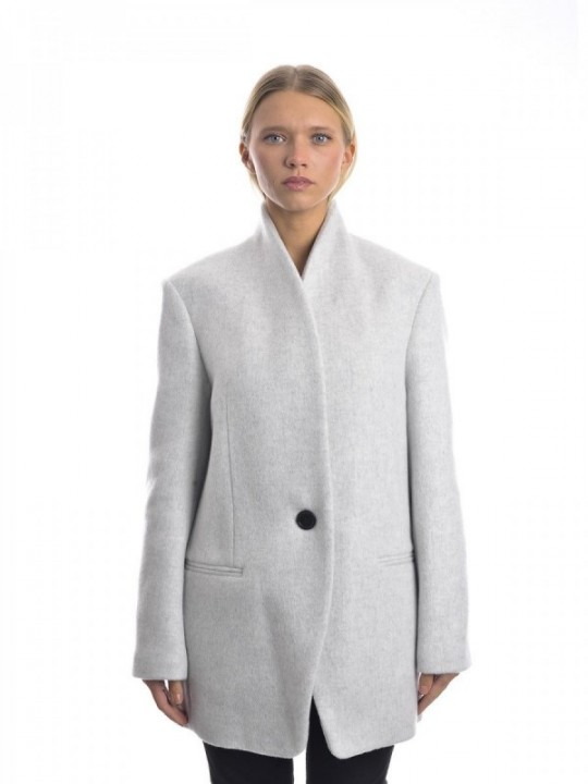 CAPPOTTO ISABEL MARANT FELICIE - LIGHT GREY